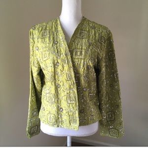 Chico's Lime Green Silk Sequined Jacket Large